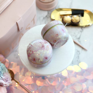 tea canister pink geode