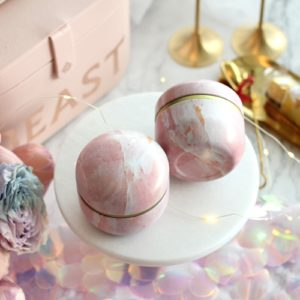 tea canister pink marble